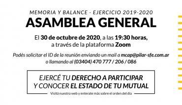 Convocatoria a Asamblea General Ordinaria - Mutual del Club Atlético Pilar